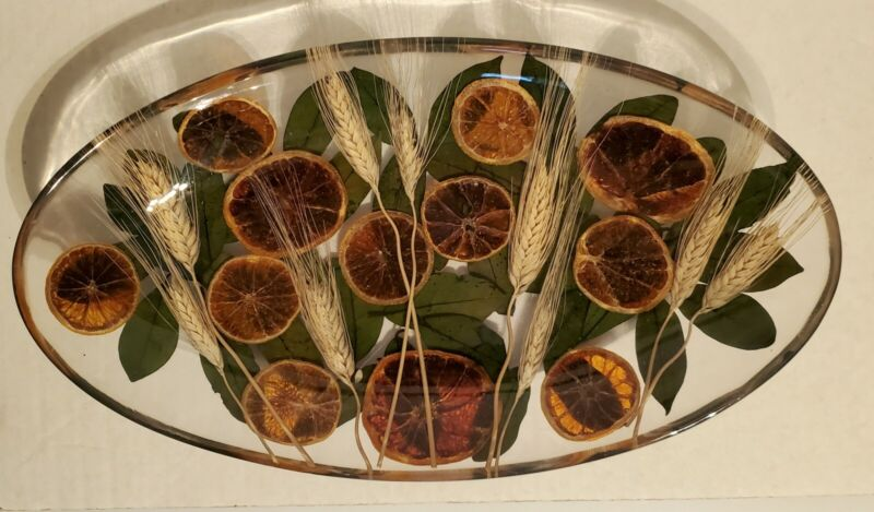 Riccardo Marzi Oranges, Wheat & Leaves Resin Platter Made By Firenze Italy