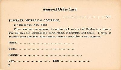 New York City~Sinclair Murray & Company~Sell Income Tax Return~1921 Postal PC (Party City Returns)