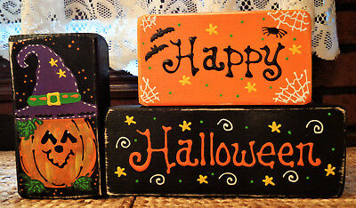 Halloween Wood Blocks (Happy Halloween CHUNKY WOOD BLOCKS SET Fall Pumpkin Country Primitive)