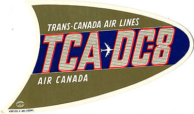Vintage Airline Luggage Label Trans Canada Air Lines Tca Dc 8 Air Canada Diecut