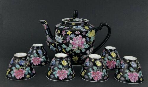 Chinese Jingdezhen Famille Noire Porcelain Enamel Floral Tea Set (567景德镇墨地粉彩花卉茶具