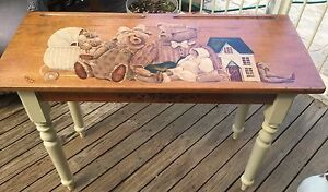 Vintage school desk, teddy bears,French provincial style St Andrews Campbelltown Area Preview