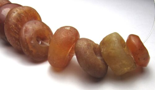 11 RARE AMAZING ANCIENT GRADUATED CARNELIAN AGATE MALI DISK BEADS
