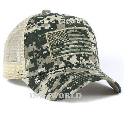 USA American Flag hat Mesh ARMY Tactical Operator Snapback Baseball cap-ACU camo