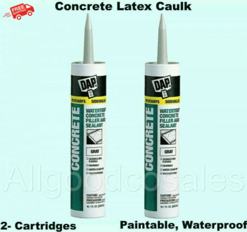 Concrete Latex Caulk (2- Cartridges) Paintable Waterproof Filler Mortar Sealant