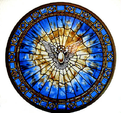 "CHRISTIAN GIFT --Glassmasters  ""The Holy Spirit"" Round Stained Glass Panel, New"