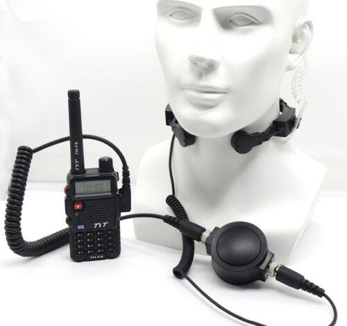 Waterproof PTT Heavy Duty Tactical Throat Mic Headset For Kenwood TYT BaoFeng
