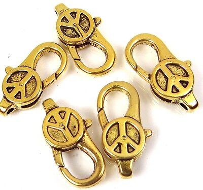 - 28x14mm Large Gold Pewter Peace Sign Lobster Claw Clasps (5) ~ Lead-Free