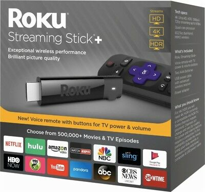 Roku 4K Ultra HD HDR Media Streaming Stick+ with Voice Remote - 3810R