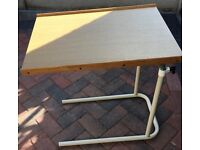 MOBILITY TABLE OVER BED OR CHAIR ON ADJUSTABLE TWO LEG STAND PLEASE SEE ALL PHOTOS