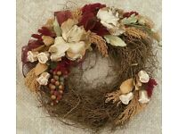*New Handmade Rustic Natural Wreath: Large: Claret Red & Ivory Twig/ Hessian/ Foliage & Berries