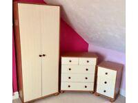 Wardrobe & 2 chest of drawers - white/pine