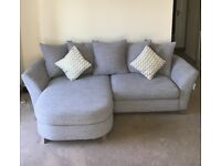 Grey fabric four seater & swivel chair