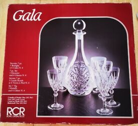 Lead Crystal Decanter and 6 Wine Glasses