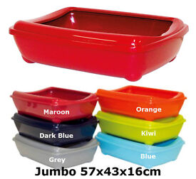 Details about Cat Jumbo Litter Tray With Rim 57x43x16cm 6 Colours Quality Box Pan Toilet Loo