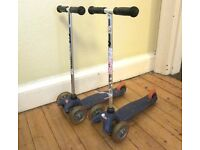 Two mini-micro scooters for sale, £20 each. Used but still in good condition.
