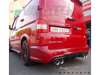 VW T5 Custom Stainelss Steel Mid and Rear Stainless Steel Exhaust with Dual Tail Pipes