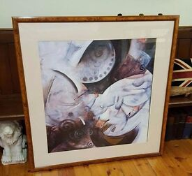 HUGE abstract in a beautiful Burr Walnut frame, statement piece