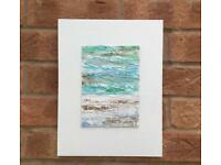 'Sea Foam' Mixed Media Abstract Art on Wooden Board. Collect Stanford Bridge