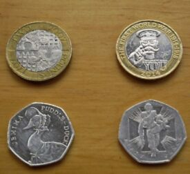 Two very rare 2£ coins (Act of Union Tercentenary + Lord Kitchener I WW) + gift