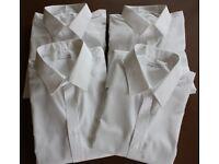 M&S Boys long sleeve white school shirts (x4)