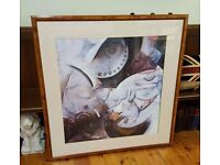huge abstract picture in burr walnut frame, top quality