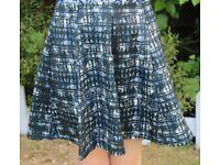 River Island skirt - blue, grey, black and white geometric print UK10