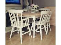 Solid pine shabby chic extending table and 6 chairs farmhouse farrow and ball can deliver