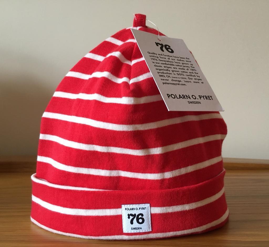 4d15ca16adb89 Polarn O. Pyret Red   White Striped Beanie Hat