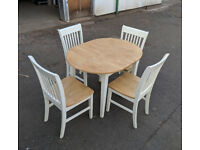 Small solid wood extendable dining table and 4 chairs DELIVERY AVAILABLE