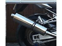 STAINLESS MOTORCYCLE RACE END CAN AND STRAP