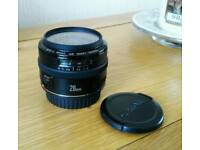 Canon EF 28mm f2.8 wide angle camera lens with filter