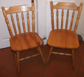 2 Pine spindle backed dining/ kitchen chairs