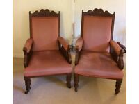 Pair of antique Edwardian/Victorian armchair chairs