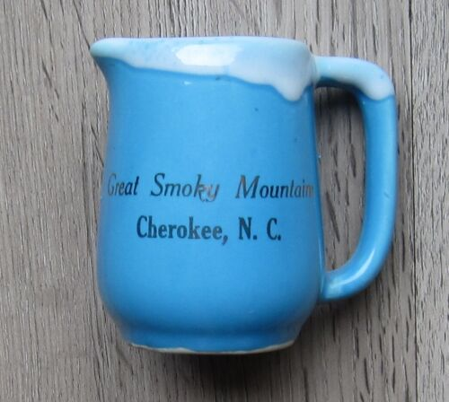 Paden City Artware W.VA Great Smoky Mountains Cherokee NC old souvenir creamer
