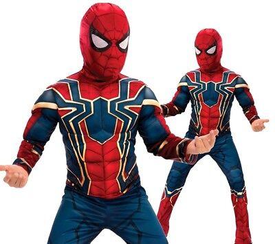 Boy IRON SPIDER Muscle Chest Deluxe Spiderman Fancy Dress Superhero Infinity War