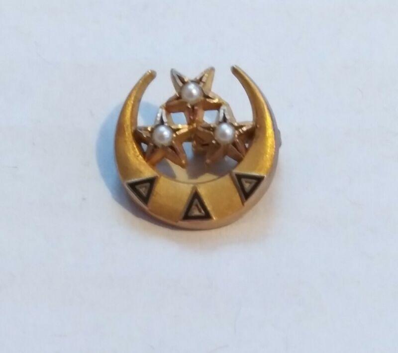 Tri Delta 10K Yellow Gold, Pearl & Enamel Sorority Pin Badge