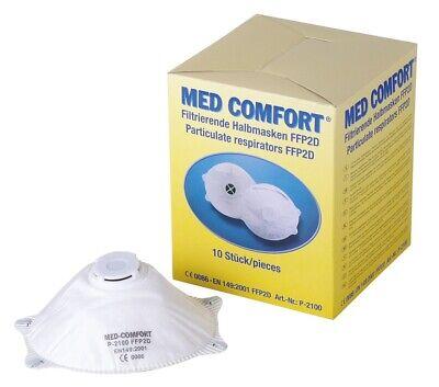 10 Stk. Med-Comfort filtrierende Halbmaske Atemschutzmaske mit Ventil FFP2 NR D
