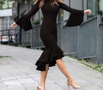 Damenkleid ohne Kragen, Langarm, Spanisches Kleid, Party, - Spanisch Kleid