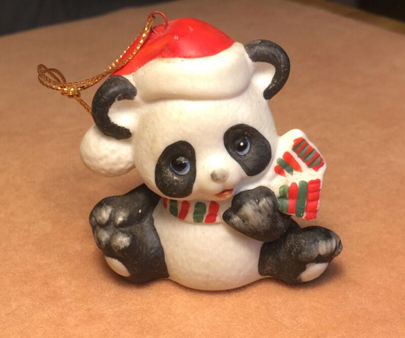Vintage RUSS BERRIE Porcelain Panda Bear Christmas Holiday Ornament Santa Hat