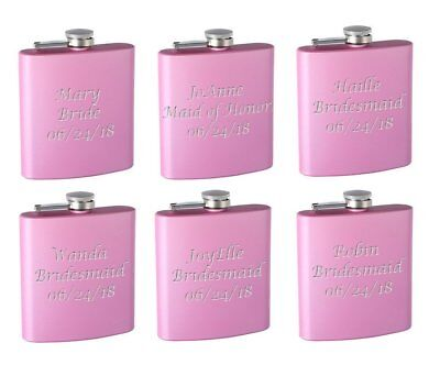 6-Pack Personalized 6oz Bridal Party Hip Flasks, Pink