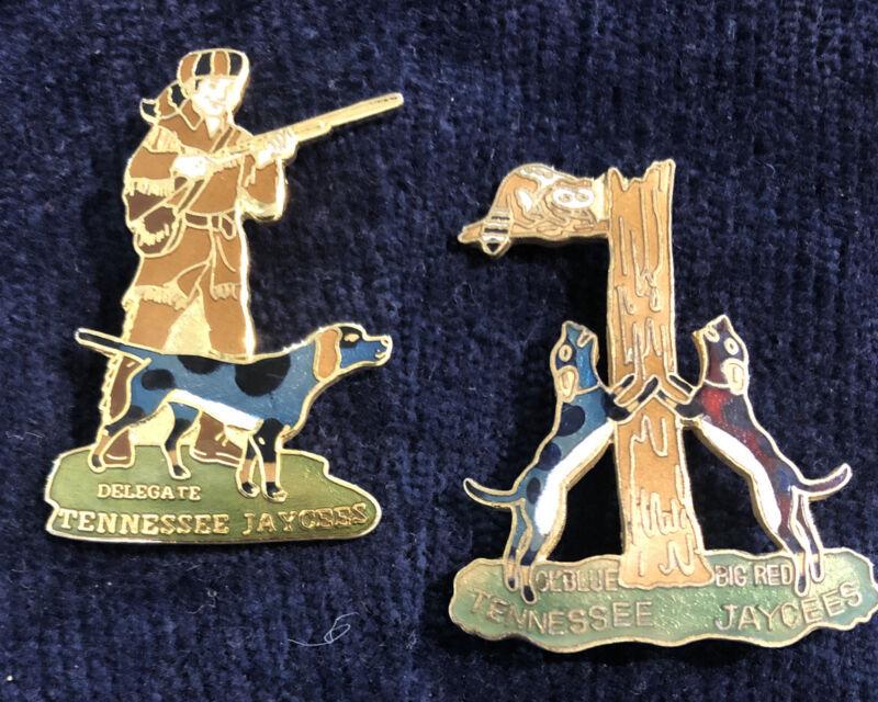 Vintage Jaycees Tennessee Enamel Pins - Davy Crocket & Coon Hounds - Nice!