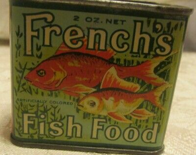 Vintage French's Gold Fish Food 2 oz Tin Rochester NY PA full unopened