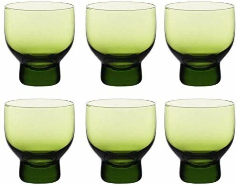 Japanese Cold Sake Glass Cups Ochoko Set of 6 Cold Sake (3 oz Cup Green)