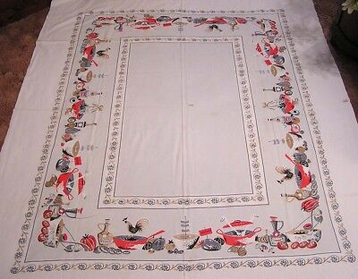 Vintage Tablecloth Large with Kitchen Stuff and Chickens Red Grey