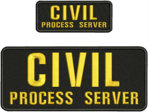 CIVIL PROCESS SERVER EMBROIDERY PATCH 4X10 AND 2X5 HOOK ON BACK BLK/GOLD