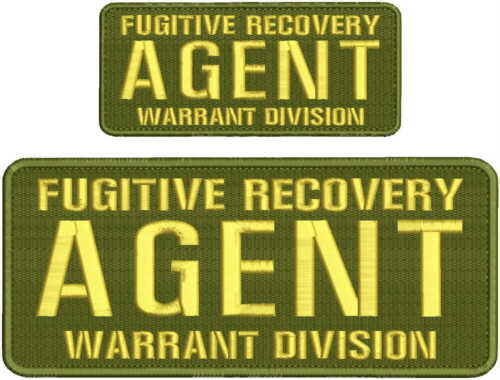Fugitive Recovery Agent Warrant Division embroidery patch 4x10 and 2.5x6 hook