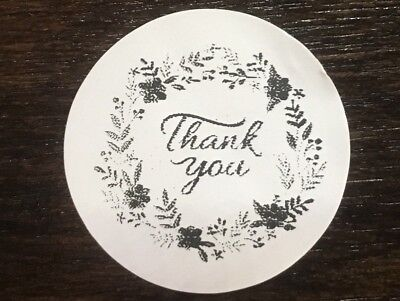 100 Thank You Flower Ring   Stickers Envelope Package Seals Labels 1  Round