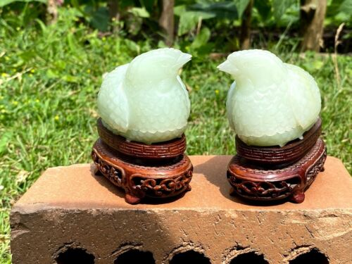 A Pair Of Chinese Jade Quail-Form Boxes with Wood Stands.