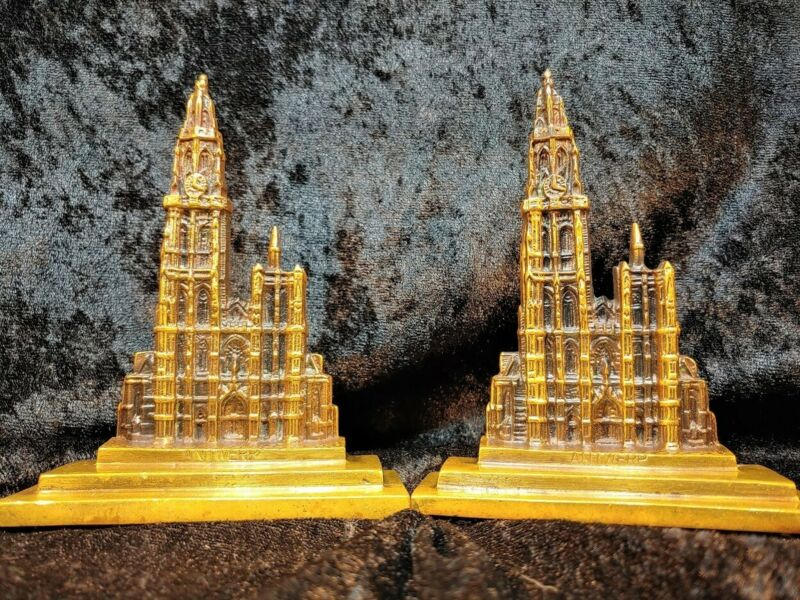 Antwerp Cathedral Solid Bronze Bookends Souvenir Building